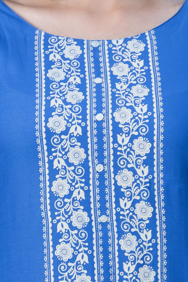 Placement placket printed kurta – Blue - Maybell Womens Fashion