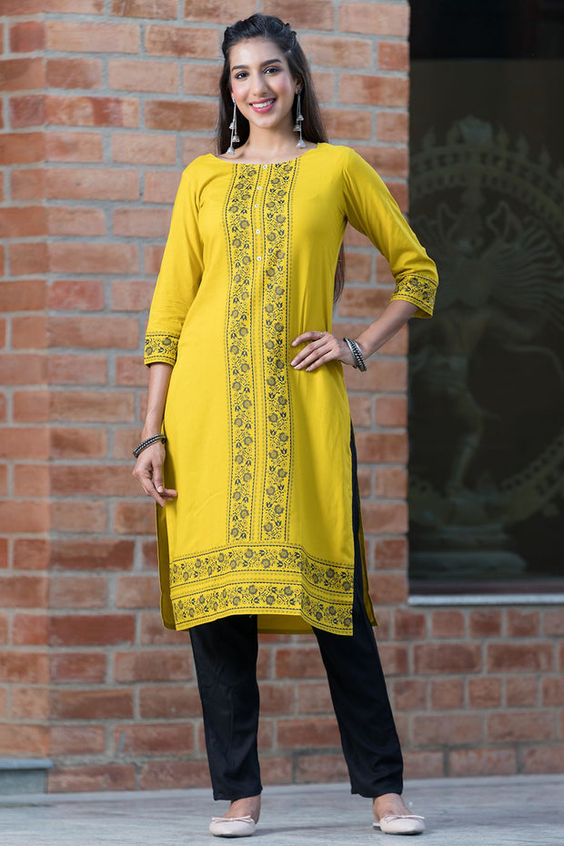 Placement placket printed kurta – Mustard - Maybell Womens Fashion