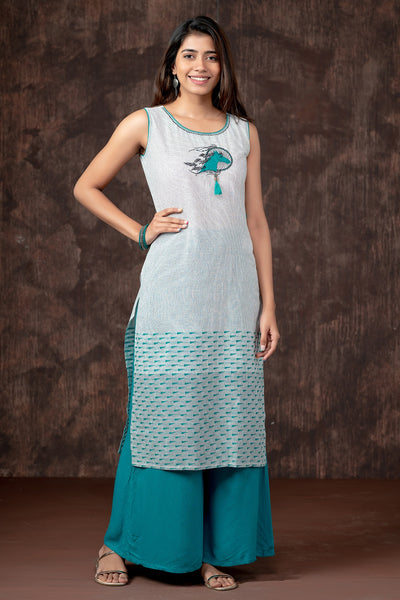 Contemporary Horse Embroidered Pin Striped Kurta - Turquoise