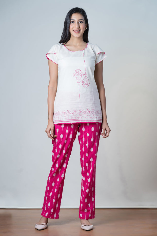 Ikat Printed Pyjama Set– Pink - Maybell Womens Fashion