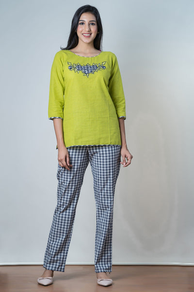 Checkered Pyjama Set– Green - Maybell Womens Fashion