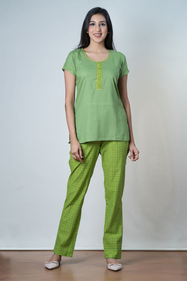 Tone on Tone Checkered Pyjama Set– Green - Maybell Womens Fashion