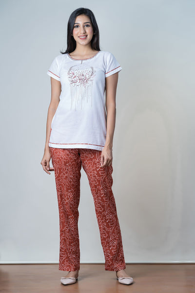 Placement Floral Printed Top & All over Printed Bottom Pyjama Set - Maroon - Maybell Womens Fashion
