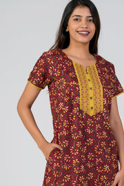 maybell-Cotton printed nighty - Maroon1