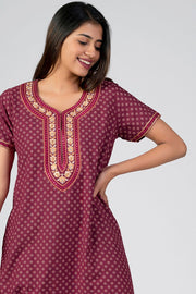Maybell-All over Floral Printed & Yoke Embroidered Nightwear- Maroon1