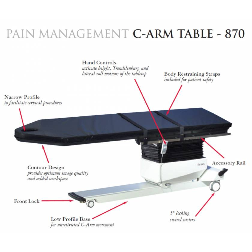 BIODEX Pain Management C-arm table Contour Design