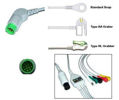Bruker Odam Ecg Cable With Leads