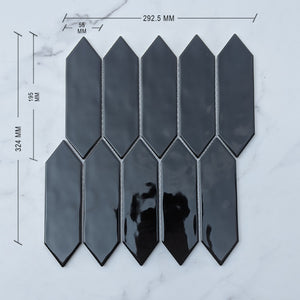 Black Picket Porcelain Mosaic+DIM