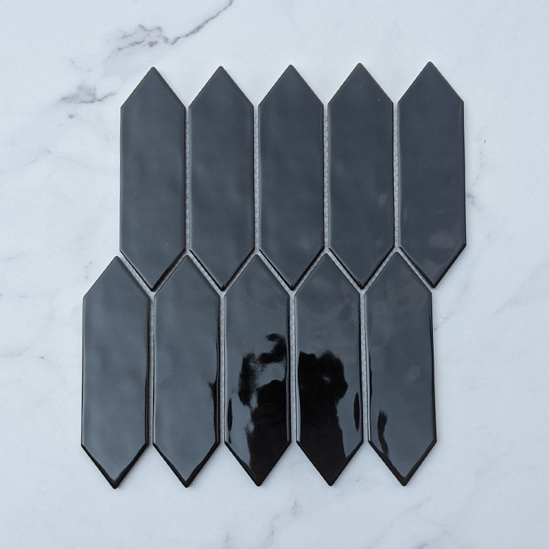 Black Picket Porcelain Mosaic