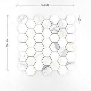 Calacatta Gold Hexagon Mosaic 48 Dia + DIM