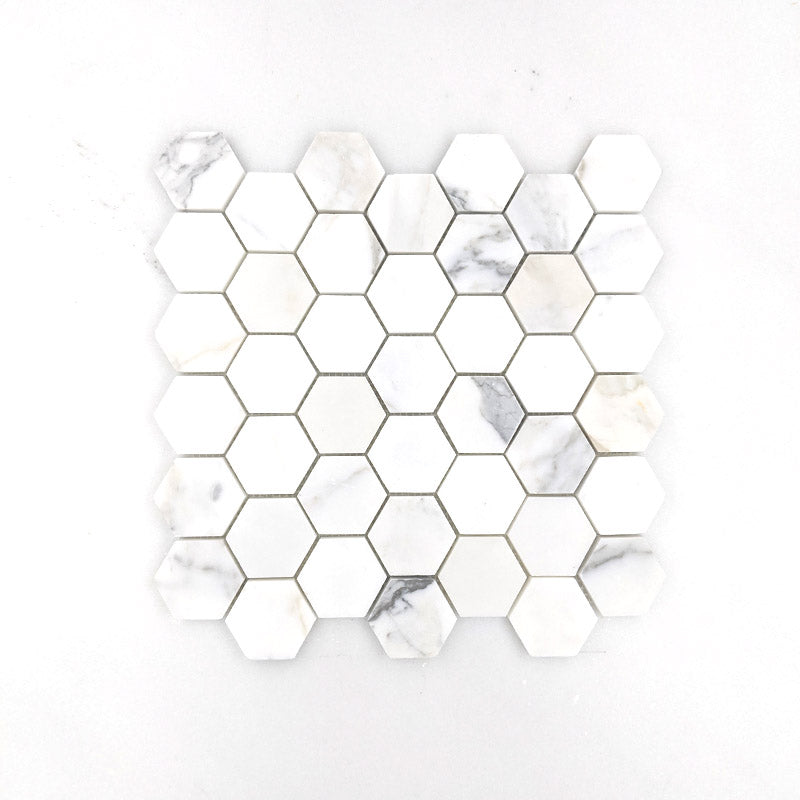 Calacatta Gold Hexagon Mosaic 48 Dia