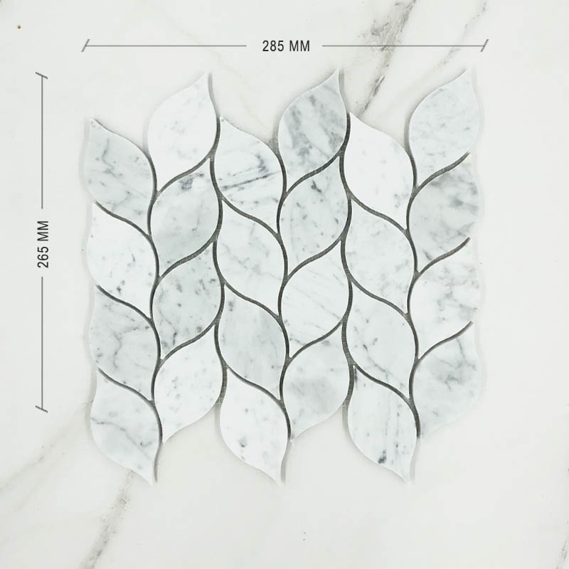 Carrara Bianco Leaf Marble Mosaic Dimension