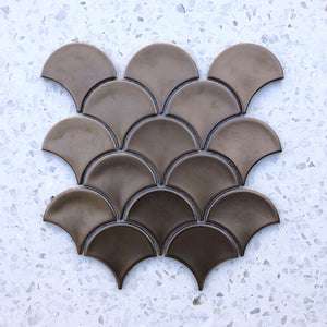 Fan Shape Bronze Metal Plated porcelain Mosaic