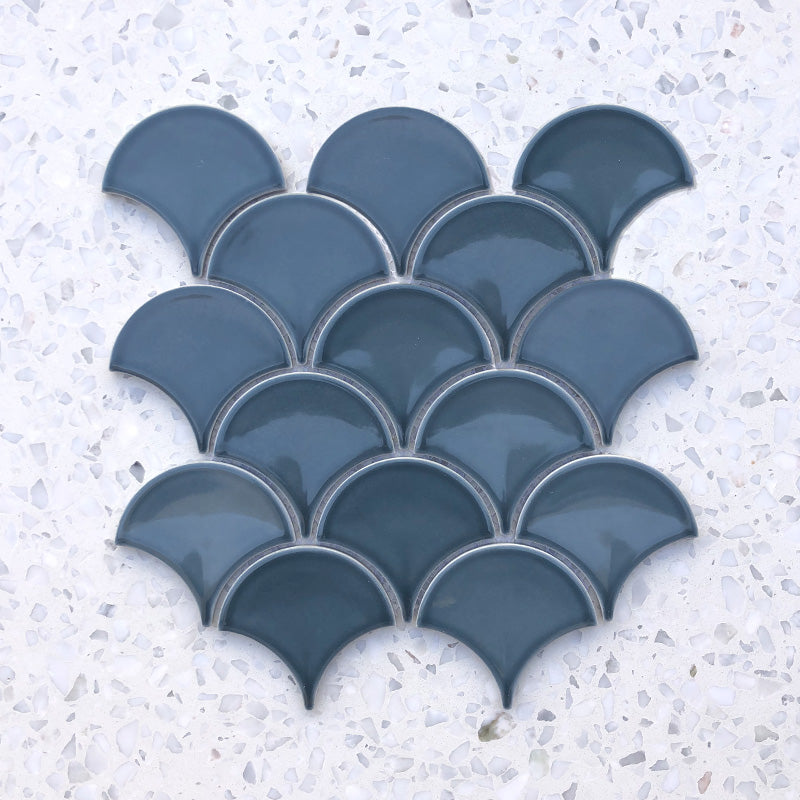 Fan Shape Denim Blue porcelain Mosaic