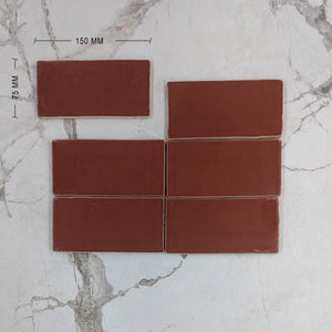 Garnet Red Moroccan Porcelain 150x75 Dimension