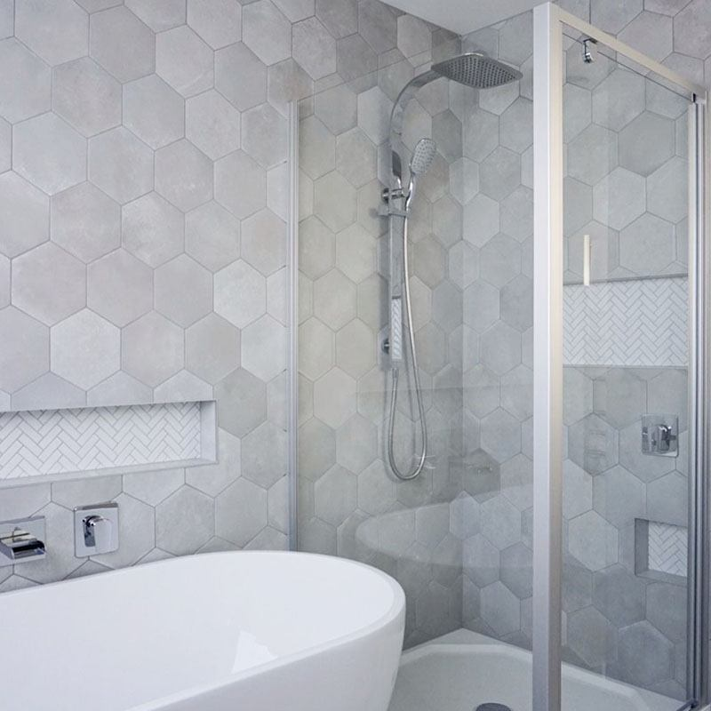 Grigio Italain Hexagon Porcelain Project Photo