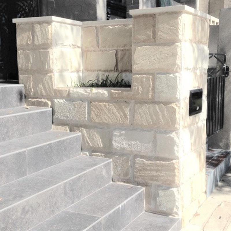 Himalayan White Sandstone Rockface Cladding Project Photo