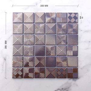 Metallic Rose Gold Porcelain Mosaic Dimension