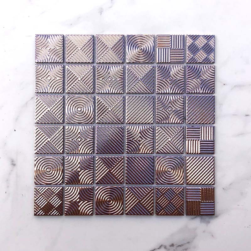 Metallic Rose Gold Porcelain Mosaic