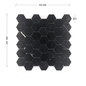 Nero Marquina Hexagon Mosaic 48 Dia Dimension