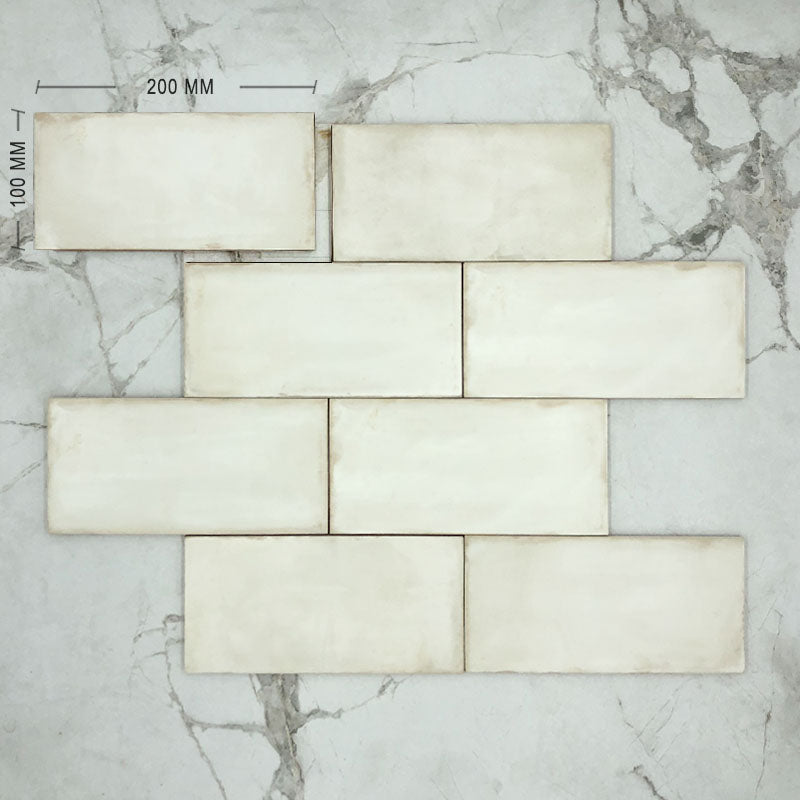 Newtown White Matt Subway Porcelain 200x100 Dimension