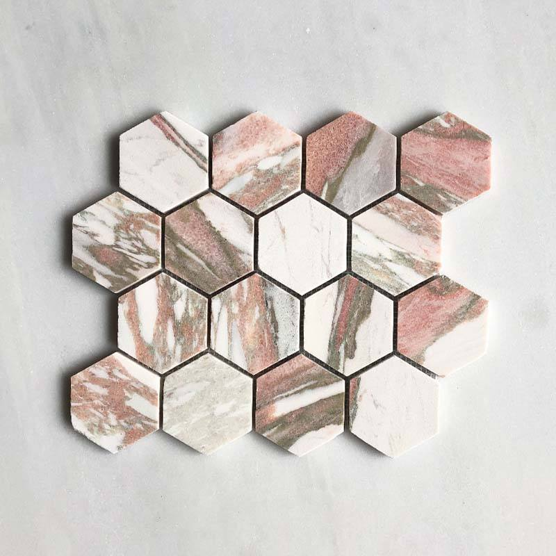Norwegian Pink Hexagon Mosaic 70 Dia