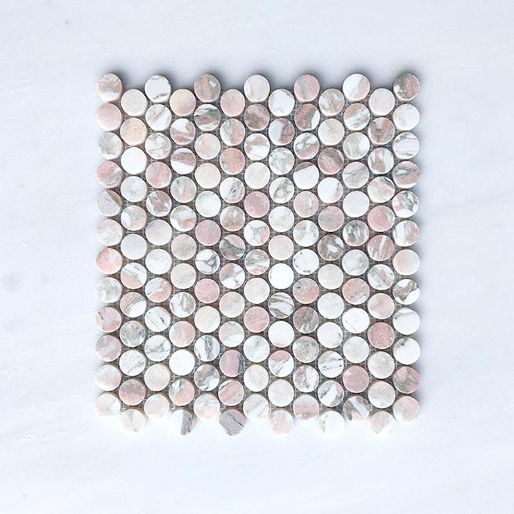 Norwegian Pink Penny Round Marble Mosaic