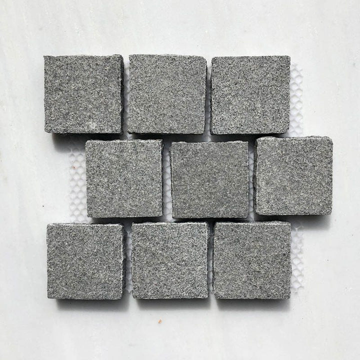 SESAME GREY BUSH HAMMERED COBBLESTONE GRANITE BRICK PATTERN