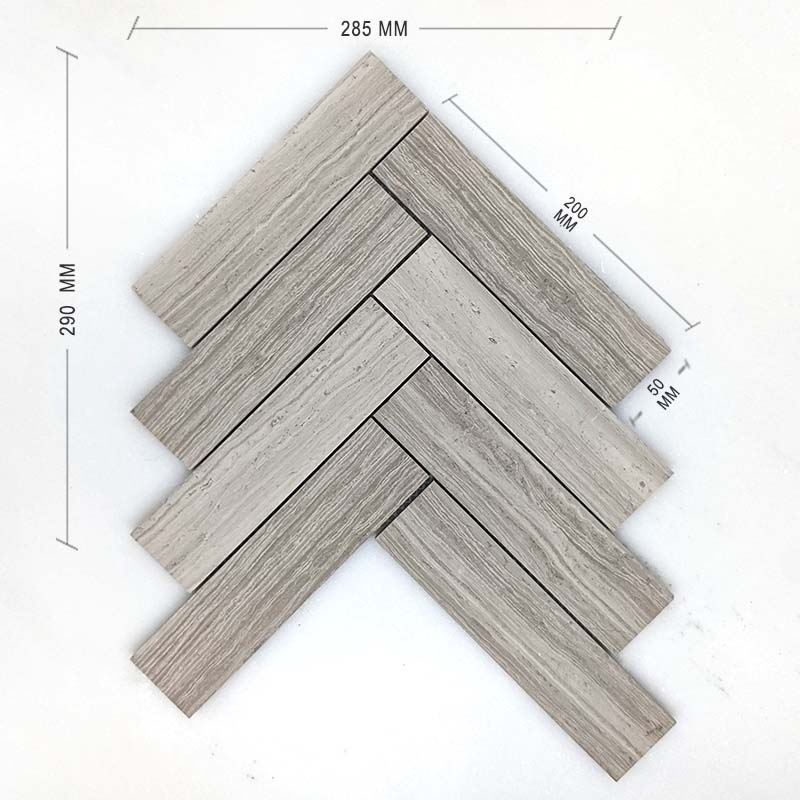 Serpeggiante Bianco Vein Cut Herringbone Mosaic 200x50 Dimension