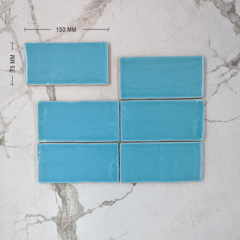 Turquoise Moroccan Porcelain 150x75 Dimension