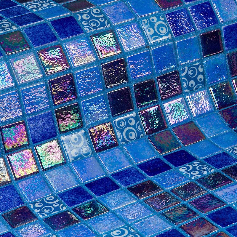 Topping Blueberries Glass Mosaic Pool Tile
