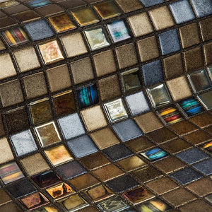Topping Pecans Glass Mosaic Pool Tile