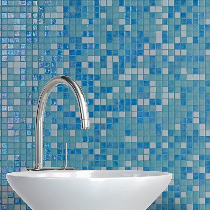 Iris Sky Blue Glass Mosaic Pool Tile