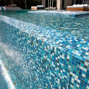 TREND WAVY GLASS MOSAIC POOL TILE