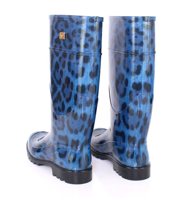 Dolce & Gabbana-Blue Leopard Rubber Rain Boots Shoes Wellies-Luxuryce