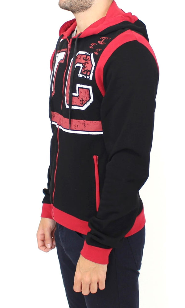 Cavalli-Red zipper hooded cotton sweater-Luxuryce