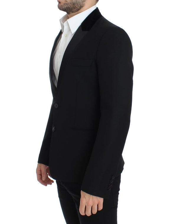 Dolce & Gabbana-Black wool stretch slim fit blazer-Luxuryce