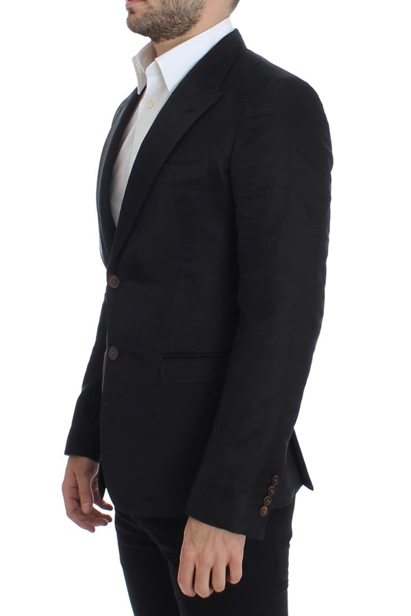 Dolce & Gabbana-Black silk slim fit blazer-Luxuryce