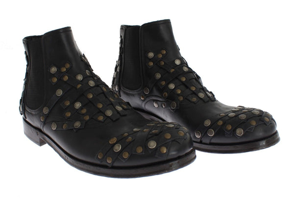 Dolce & Gabbana-Black Leather Gold Studded Shoes Boots-Luxuryce