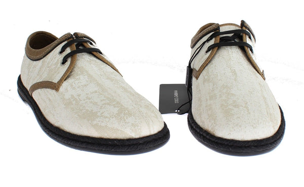 Dolce & Gabbana-White Denim Brown Leather Casual Shoes-Luxuryce