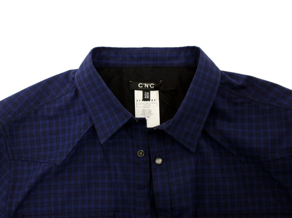 Costume National-Blue checkered cotton shirt-Luxuryce