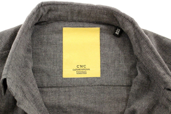 Costume National-Gray cotton slim fit shirt-Luxuryce