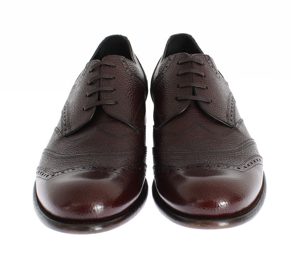 Dolce & Gabbana-Brown Bordeaux Leather Dress Shoes-Luxuryce