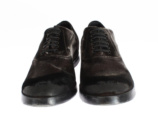 Dolce & Gabbana-Brown Velvet Casual Mens Laceups Shoes-Luxuryce