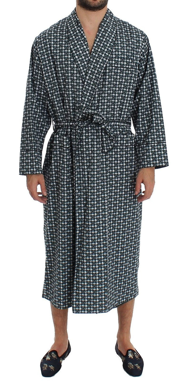 Dolce & Gabbana-Green Hat Print Cotton Robe Coat Nightgown-Luxuryce