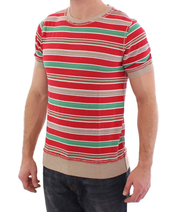 Dolce & Gabbana-Multicolor striped crewneck t-shirt-Luxuryce