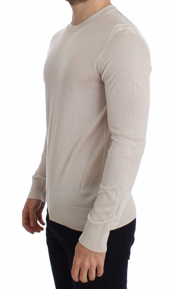 Dolce & Gabbana-Cream Silk Cashmere Crew-neck Sweater Pullover-Luxuryce