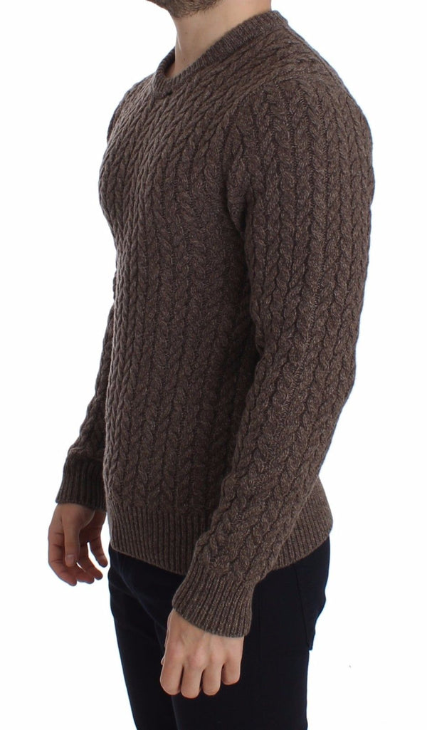 Dolce & Gabbana-Brown Knitted Wool Crewneck Sweater Pullover-Luxuryce