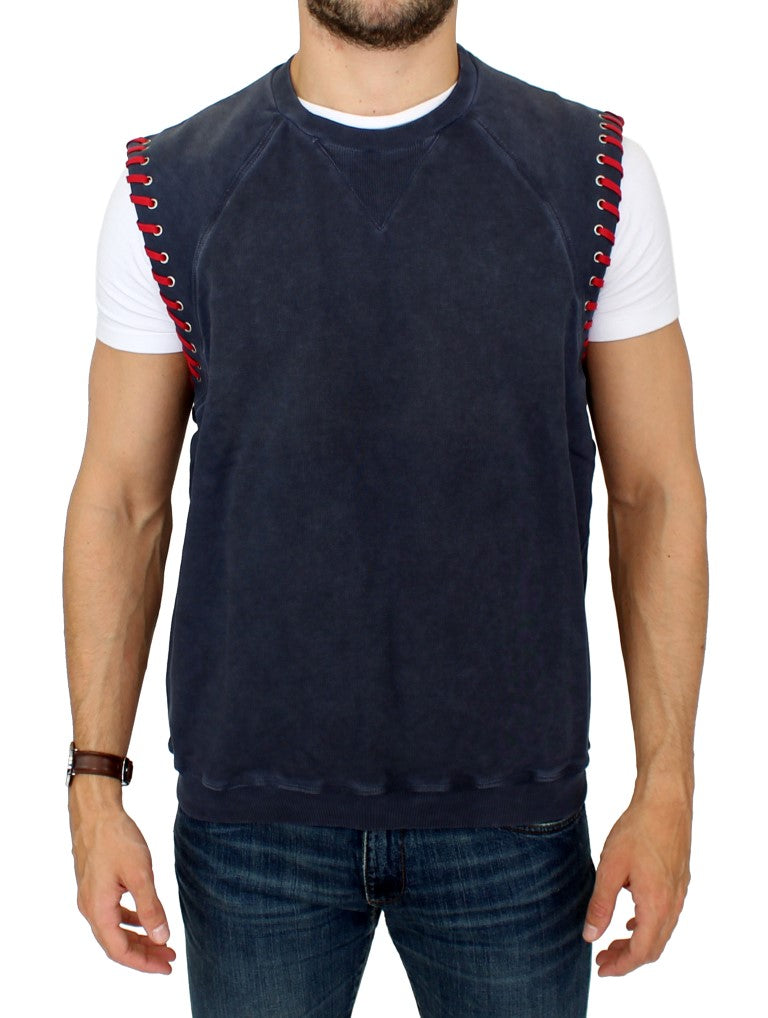 Karl Lagerfeld-Blue sleeveless vest sweater-Luxuryce