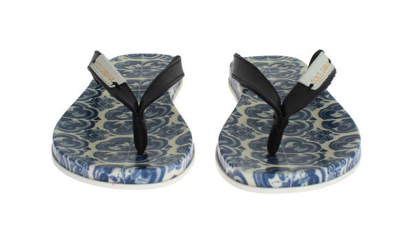 Dolce & Gabbana-Blue Leather Shoes Majolica Flip Flops-Luxuryce